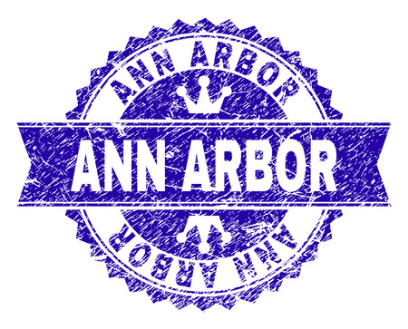 ANN ARBOR rosette seal watermark with distress style. Designed with round rosette, ribbon and small crowns. Blue vector rubber watermark of ANN ARBOR caption with dust style.