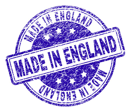 MADE IN ENGLAND stamp seal imprint with distress texture. Designed with rounded rectangles and circles. Blue vector rubber print of MADE IN ENGLAND caption with retro texture.