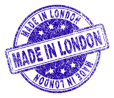 MADE IN LONDON stamp seal imprint with grunge texture. Designed with rounded rectangles and circles. Blue vector rubber print of MADE IN LONDON title with scratched texture.