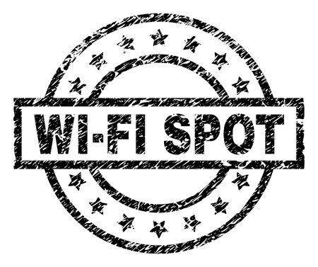 Illustration for WIFI SPOT stamp seal watermark with distress style. Designed with rectangle, circles and stars. Black vector rubber print of WIFI SPOT text with corroded texture. - Royalty Free Image