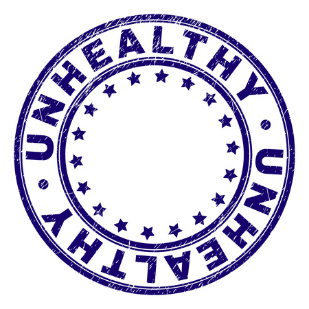 UNHEALTHY stamp seal imprint with grunge texture. Designed with circles and stars. Blue vector rubber print of UNHEALTHY caption with corroded texture.