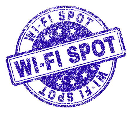 Illustration for WIFI SPOT stamp seal imprint with distress texture. Designed with rounded rectangles and circles. Blue vector rubber print of WIFI SPOT tag with corroded texture. - Royalty Free Image