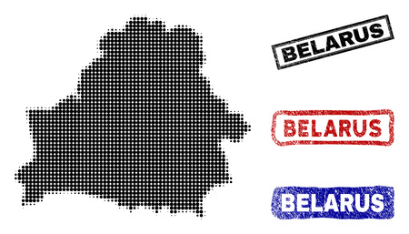 Halftone vector dot abstracted Belarus map and isolated black, red, blue rubber-style stamp seals. Belarus map caption inside draft rectangle frames and with unclean rubber texture.