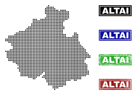 Vector dot abstract Altai Republic map and isolated clean black, grunge red, blue, green stamp seals. Altai Republic map caption inside draft framed rectangles and with grunge rubber texture.