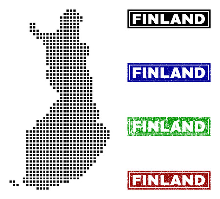 Vector dot abstracted Finland map and isolated clean black, grunge red, blue, green stamp seals. Finland map title inside draft framed rectangles and with grunge rubber texture.