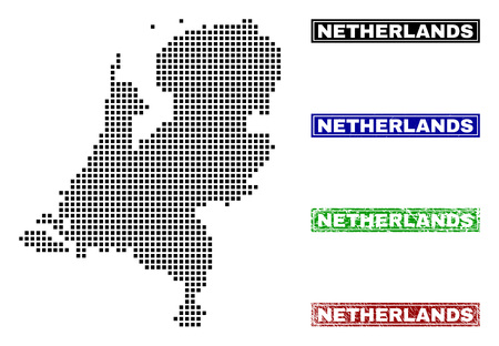 Vector dot abstract Netherlands map and isolated clean black, grunge red, blue, green stamp seals. Netherlands map title inside draft framed rectangles and with grunge rubber texture.