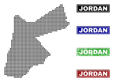Dot vector abstracted Jordan map and isolated clean black, grunge red, blue, green stamp seals. Jordan map name inside draft framed rectangles and with grunge rubber texture.