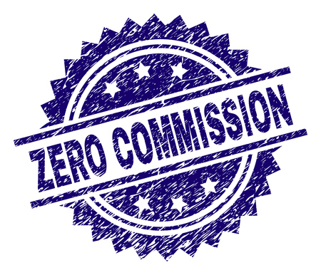 ZERO COMMISSION stamp seal watermark with distress style. Blue vector rubber print of ZERO COMMISSION label with retro texture.