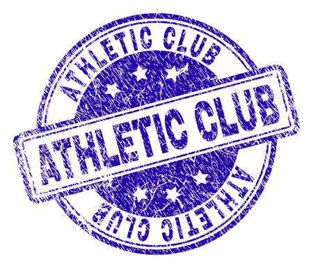Illustration pour ATHLETIC CLUB stamp seal watermark with distress texture. Designed with rounded rectangles and circles. Blue vector rubber print of ATHLETIC CLUB caption with dirty texture. - image libre de droit