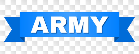 ARMY text on a ribbon. Designed with white caption and blue tape. Vector banner with ARMY tag on a transparent background.