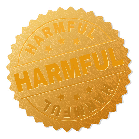 Illustration pour HARMFUL gold stamp award. Vector golden award with HARMFUL tag. Text labels are placed between parallel lines and on circle. Golden skin has metallic structure. - image libre de droit