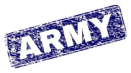 ARMY stamp seal print with grunge style. Seal shape is a rounded rectangle with frame. Blue vector rubber print of ARMY text with unclean style.