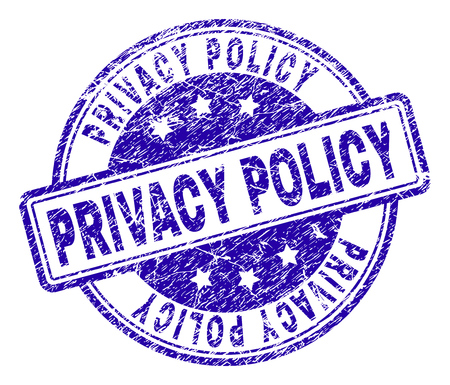 Illustration pour PRIVACY POLICY stamp seal imprint with distress texture. Designed with rounded rectangles and circles. Blue vector rubber print of PRIVACY POLICY tag with dust texture. - image libre de droit