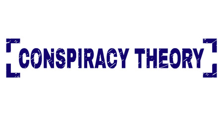 Illustration for CONSPIRACY THEORY title seal print with distress texture. Text title is placed inside corners. Blue vector rubber print of CONSPIRACY THEORY with dirty texture. - Royalty Free Image