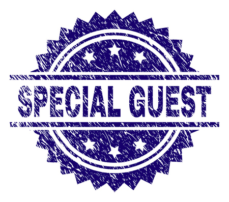 Illustration pour SPECIAL GUEST stamp seal watermark with distress style. Blue vector rubber print of SPECIAL GUEST text with scratched texture. - image libre de droit