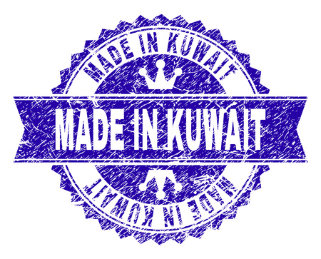 Illustration for MADE IN KUWAIT rosette stamp watermark with grunge texture. Designed with round rosette, ribbon and small crowns. Blue vector rubber watermark of MADE IN KUWAIT tag with unclean texture. - Royalty Free Image