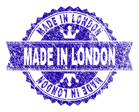 MADE IN LONDON rosette stamp seal watermark with grunge texture. Designed with round rosette, ribbon and small crowns. Blue vector rubber watermark of MADE IN LONDON caption with grunge texture.