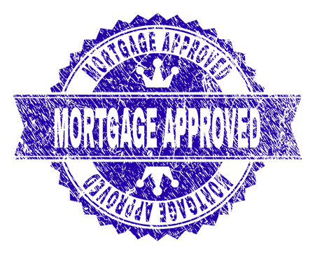 MORTGAGE APPROVED rosette stamp imitation with grunge texture. Designed with round rosette, ribbon and small crowns. Blue vector rubber print of MORTGAGE APPROVED label with grunge texture.