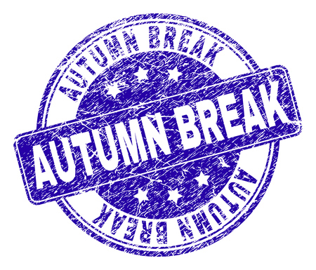 Illustration pour AUTUMN BREAK stamp seal watermark with grunge texture. Designed with rounded rectangle and circles. Blue vector rubber watermark of AUTUMN BREAK title with grunge texture. - image libre de droit
