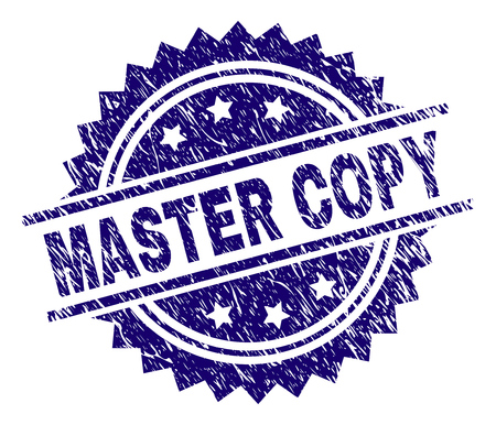 Illustration pour MASTER COPY stamp seal watermark with distress style. Blue vector rubber print of MASTER COPY label with dust texture. - image libre de droit