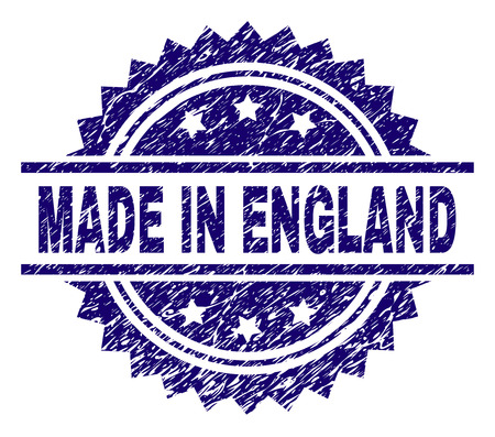 MADE IN ENGLAND stamp seal watermark with distress style. Blue vector rubber print of MADE IN ENGLAND title with scratched texture.