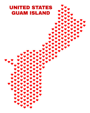 Mosaic Guam Island map of love hearts in red color isolated on a white background. Regular red heart pattern in shape of Guam Island map. Abstract design for Valentine illustrations.