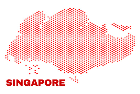 Illustration pour Mosaic Singapore map of heart hearts in red color isolated on a white background. Regular red heart pattern in shape of Singapore map. Abstract design for Valentine decoration. - image libre de droit