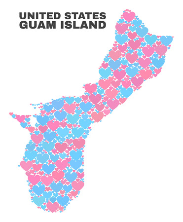 Mosaic Guam Island map of lovely hearts in pink and blue colors isolated on a white background. Lovely heart collage in shape of Guam Island map. Abstract design for Valentine illustrations.