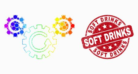 Illustration pour Dotted rainbow gradiented gear rotation mosaic pictogram and Soft Drinks seal. Red vector rounded textured watermark with Soft Drinks text. Vector combination in flat style. - image libre de droit