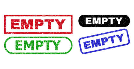 EMPTY grunge seal stamps. Flat vector grunge seal stamps with EMPTY title inside different rectangle and rounded forms, in blue, red, green, black color versions. Watermarks with unclean surface.