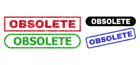 Illustration for OBSOLETE grunge seals. Flat vector grunge watermarks with OBSOLETE title inside different rectangle and rounded forms, in blue, red, green, black color versions. Watermarks with grunge texture. - Royalty Free Image