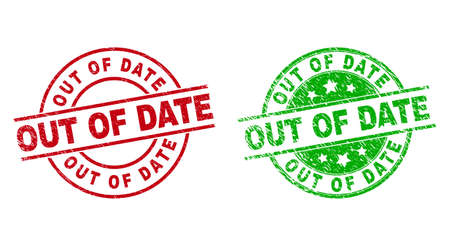 Illustration pour Round OUT OF DATE stamp badges. Flat vector distress stamp watermarks with OUT OF DATE title inside circle and lines, using red and green colors. Watermarks with distress surface. - image libre de droit