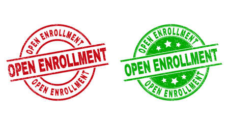 Illustration pour Round OPEN ENROLLMENT watermarks. Flat vector distress stamp watermarks with OPEN ENROLLMENT title inside circle and lines, using red and green colors. Stamp imprints with distress style. - image libre de droit