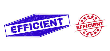 Illustration pour EFFICIENT stamps. Red round and blue expanded hexagonal EFFICIENT seal stamps. - image libre de droit