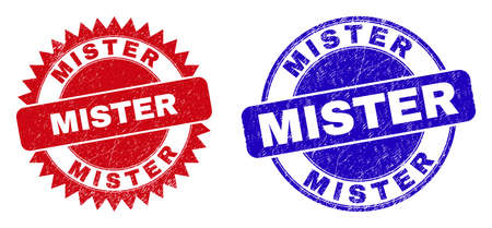 Illustration pour Round and rosette MISTER seal stamps. Flat vector scratched seal stamps with MISTER message inside round and sharp rosette form, in red and blue colors. Imprints with grunged surface, - image libre de droit