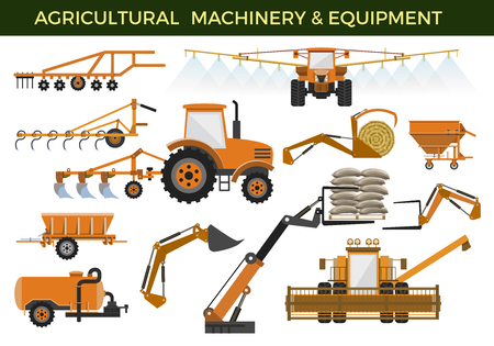Illustration pour Set of vector agricultural machinery and equipment - image libre de droit