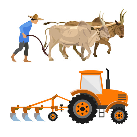Illustration pour Plowing with cattle and farm tractor. Vector illustration isolated on white background - image libre de droit