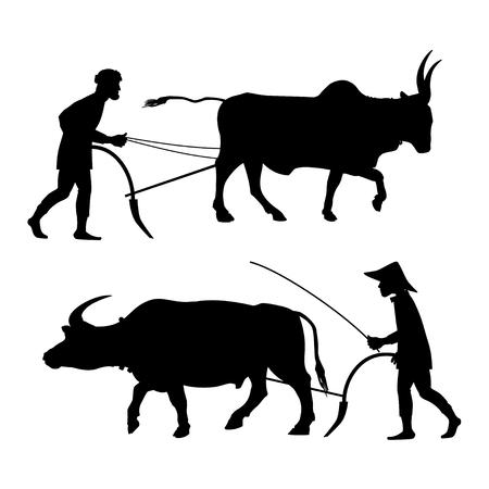 Illustration pour Peasants plow the land with oxen. Set of vector black silhouettes on white background. - image libre de droit