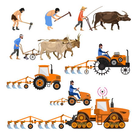 Illustration pour Evolution of the farm tractor. Collection of vector illustrations for infographics isolated - image libre de droit