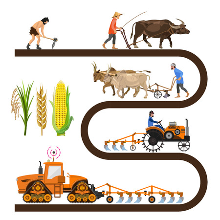 Illustration pour Historical timeline - farm tools and machinery. Collection of vector illustrations for info-graphics. - image libre de droit