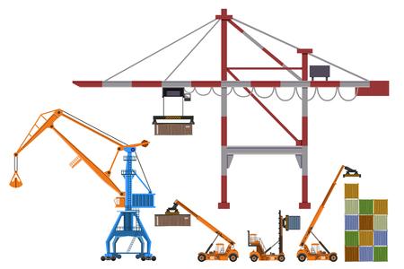 Ilustración de Set of container loaders, gantry and level luffing cranes. Vector illustration isolated on white background - Imagen libre de derechos