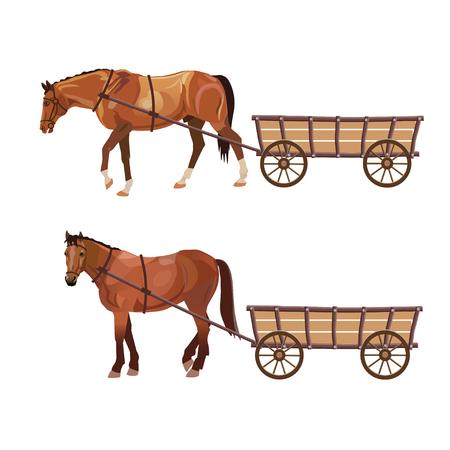 Ilustración de Horse with cart. Set of vector illustration isolated on white background - Imagen libre de derechos