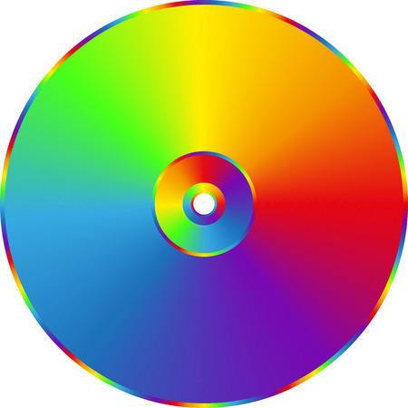 Illustration for CD DVD rainbow disc isolated on transparent background. - Royalty Free Image