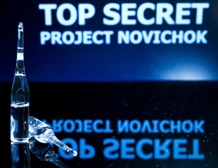 Top Secret Project Novichok (Newbie), nerve agent. A staged picture to illustrate the news about the incident in Salisbury, UK. Hot news - the poison and the spy scandal with Russia.