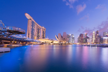 Photo for Singapore marina bay city skyline. - Royalty Free Image