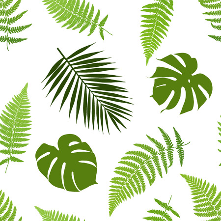Illustration pour Tropical leaves seamless pattern. Vector illustration. - image libre de droit