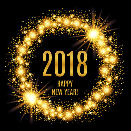 2018 Happy New Year glowing gold background. Vector illustrationのイラスト素材