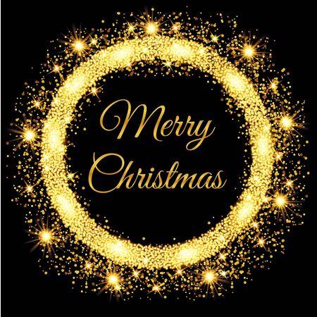 Ilustración de Merry Christmas glowing gold background. Vector illustration - Imagen libre de derechos