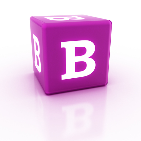 The letter B on the cube. 3D render of a cube. The alphabet blocks.