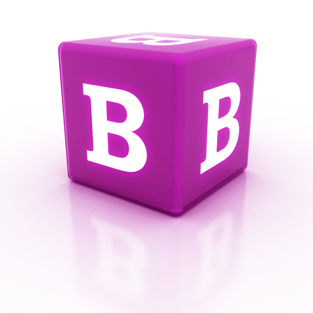The letter B on the cube. Multicolored alphabet on cubes.